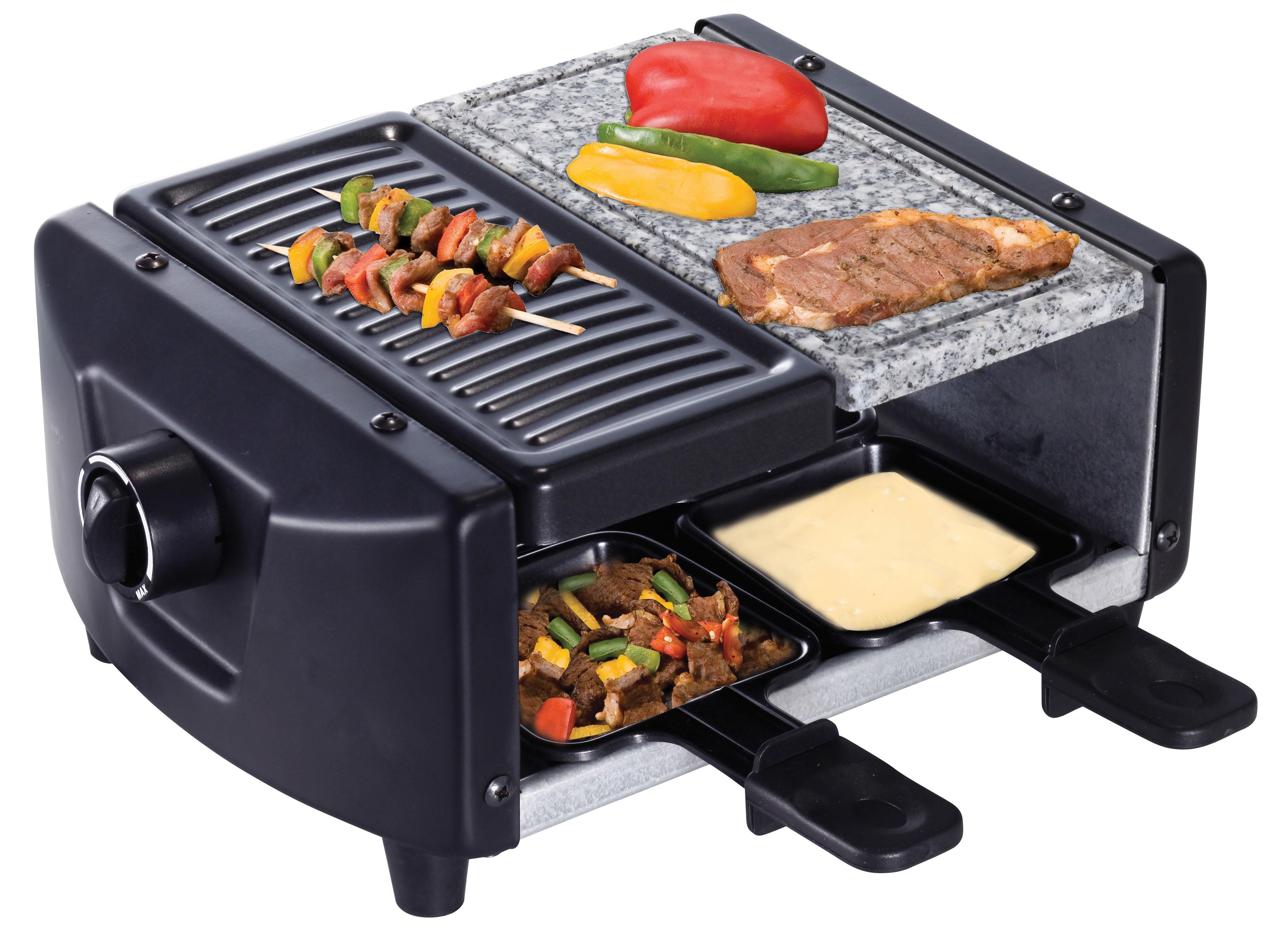 2 in1 Raclette Grill mit Granitstein /&Grill für 4 Personen 600 Watt H.koenig RP4